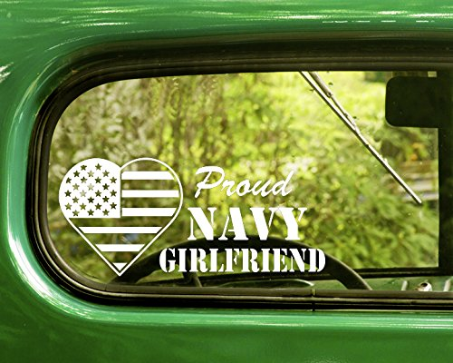 2 PROUD U.S. NAVY GIRLFRIEND Decal Military Stickers White Die Cut For Window Car Jeep 4x4 Truck Laptop Bumper Rv