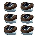 Solalite – 6 Solar Powered Door / Fence / Wall / Step Lights Led Outdoor Garden Lighting, Brown