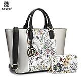 Image of Dasein Women's Top Handle Structured Two Tone Tote Bag Satchel Handbag Shoulder Bag With Shoulder Strap (6417 Silver/White Floral)