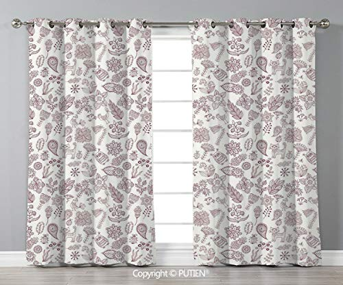 (Grommet Blackout Window Curtains Drapes [ Playroom Decor,Nature Themed Cute Figures Owl Cat Bird Bluebells Tulips Leaves Doodle,Dark Brown White ] for Living Room Bedroom Dorm Room Classroom Kitchen C)