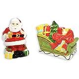 Martha Stewart Collection Vintage Holiday Santa & Sleigh Salt & Pepper Shakers