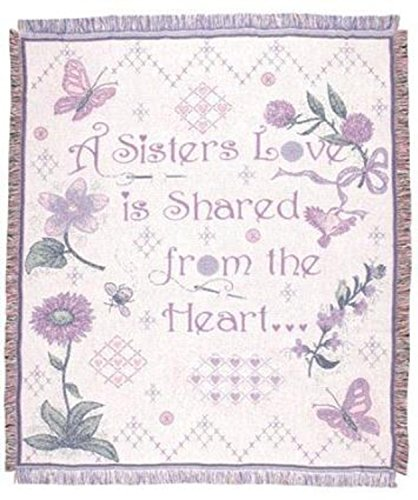 """""""A Sister's Love"""" Garden Afghan Throw Blanket 48"""" x 60"""" SKU 2017 from Simply Home"""