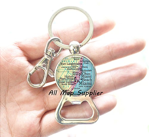Charming Bottle Opener Keychain,Miami map Bottle Opener, Miami Bottle Opener, Ft Lauderdale, Miami Beach, Hialeah, Coral Gables, Miami map Bottle Opener Keychain,A0296