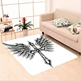 Nalahome Custom carpet raldic Wing and Cross Christ and Christian Fable Feathers Faith King Heraldic Artwork Black Grey area rugs for Living Dining Room Bedroom Hallway Office Carpet (24''x40'')