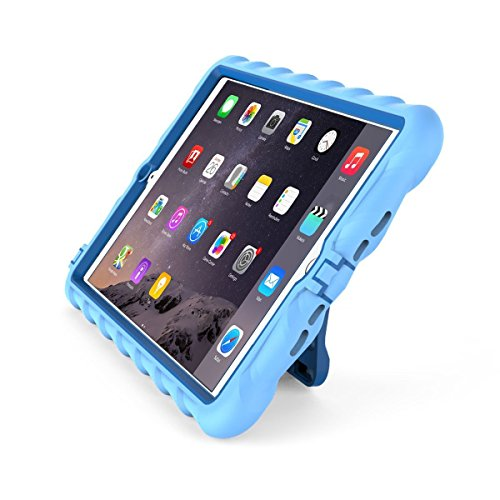 GumDrop Hideaway Case with Kickstand for The Apple iPad Mini 4 Tablet for K-12 Students, Teachers, Kids - Light Blue/Royal Blue, Rugged, Shock Absorbing, Extreme Drop Protection