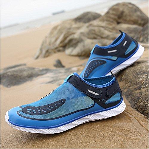 Capo Show Mens Velcro Mesh Asciugatura Rapida Slip On Spiaggia Piscina Aqua Scarpe Da Acqua Blu