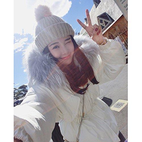 Xuanku Winter Big Collar Collar White Down Jacket Female Midties Thicker Waist Hooded Jacket White