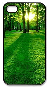 rubber iphone 4S case Green Forest PC Black for Apple iPhone 4/4S