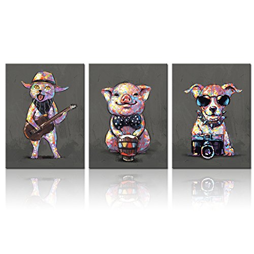 Visual Art Decor Cartoon Funny Animals Wall Art Canvas Prints Lovely Pig Dog Cat Pet Painting Modern Living Room Office Wall Decoration (12''x16''x3) by Visual Art