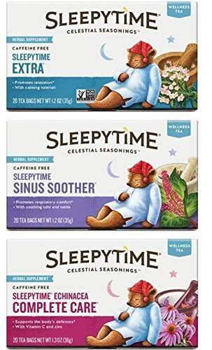 Celestial Seasonings Wellness Caffeine Free Herbal Tea 3 Flavor Variety Bundle, 1 Each: Sleepytime Extra Tea, Sleepytime Echinacea Complete Care Tea, Sleepytime Sinus Soother Tea (20 Count Ea.)