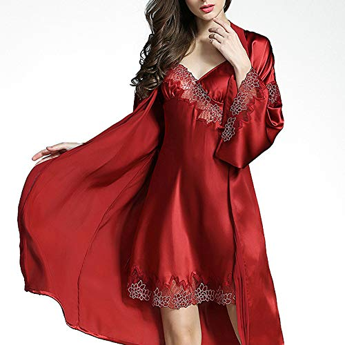 Verano Camisones Mujer De Co V1 Pijama Primavera E Invierno Clothing Hogar Red Conjuntos Pijamas Wine Ropa Otoño Sexy Vestidos 2 Traje Seda OTOAvwq