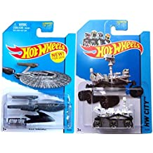 Star Trek Mars Rover Hot Wheels Set 2014 Planet Heroes USS Vengeance 1:64 Scale Collectible Die Cast Metal Toy Car Models No. 71 and 75