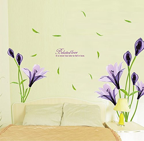 TOTOMO Purple Irish Flower Wall Decals Stickers for Bedroom Sofa Backdrop Wall Décor Art