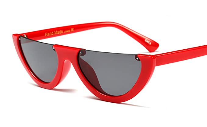 584224ace6 Narrow Half Rimmed Sunglasses for Women Slim Moon Skinny Flat Top Trendy  Frame (Red