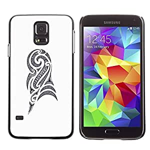 Paccase / SLIM PC / Aliminium Casa Carcasa Funda Case Cover - Art Drawing Ink Black White - Samsung Galaxy S5 SM-G900