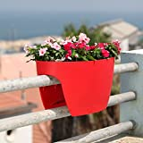 24 in. Railing and Deck Planter windowbox Greenbo XL (Pack of 6) from Greenbo, Red