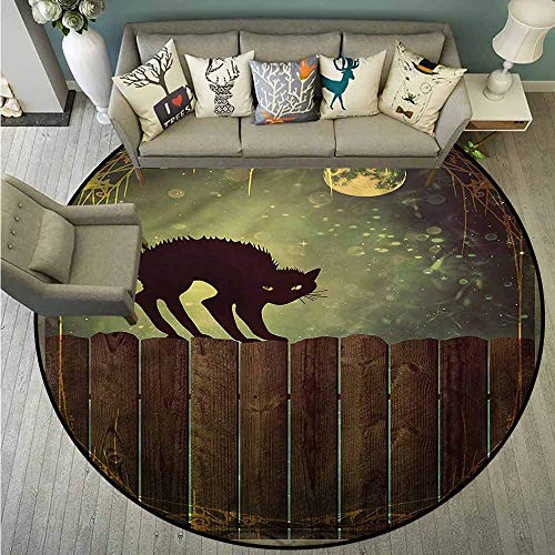 Living Room Area Round Rugs,Halloween,Angry Cat on Wood Fences,Super Absorbs -