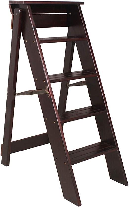 Taburete Plegable de Madera Taburete con Escalera de 5 escalones Escalera para el hogar y la Cocina Taburete Escalera Silla Escalera de Flores multifunción Estante de exhibición Escalera Ascendente: Amazon.es: Hogar