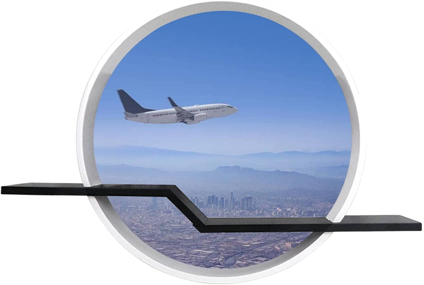 24'' Los Angele Skyline with Airplane Flying Over Round Wall Floating Shelves Canvas Print Wall Art Decor for Bedroom, Living Room, Cafe, Office, Ready to Hang
