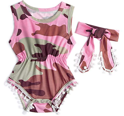 3-6M Camo Romper for Baby Niece Daughter Girl's Fall Outside Indoor Floral Design Body Suit Clothing with Snap Closure
