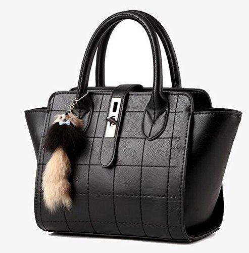 VINICIO Mature Womens Premium Leather Elegant Ornaments High-capacity Handbag(Black)
