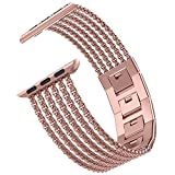 Wearlizer Rose Gold Compatible Apple Watch Band 38mm iWatch Mesh Loop Milanese Stainless Steel Replacement, Metal Strap Wristbands New Bracelet, Series 3 2 1 Sport Nike+ Edition