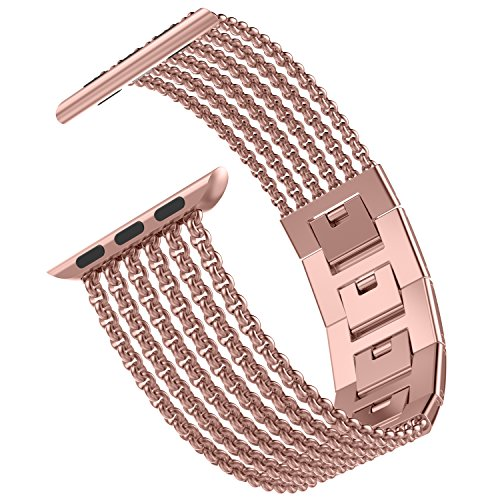 (Wearlizer Rose Gold Compatible with Apple Watch Band 38mm 40mm iWatch Womens Mesh Loop Stainless Steel Replacement Dress Chain Metal Strap Beauty Wristband Bracelet Series 4 3 2 1 Sport Nike+ Edition)