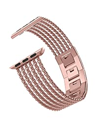 Wearlizer Compatible Apple Watch Band 38mm 40mm Rose Gold, Stainless Steel Metal Straps Replacement Band Bracelet Wristband for iWatch Series 4/ Series 3/ Series 2/ Series 1