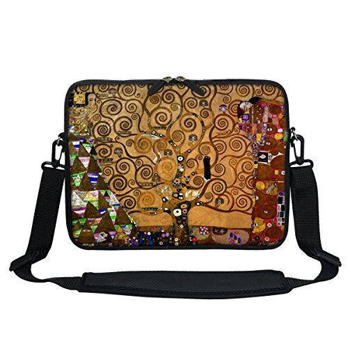 (Meffort Inc 11.6 Inch Neoprene Laptop / Ultrabook / Chromebook Bag Carrying Sleeve with Hidden Handle and Adjustable Shoulder Strap (Klimt Tree of Life))