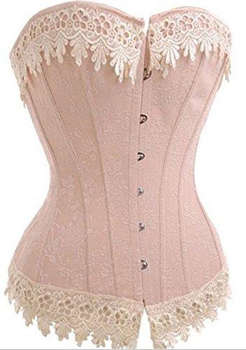 Lace Trim Corset (Yinwes Corset Womens Vintage Floral Lace Trim Corset Plus Size S-6XL (6XLarge(Natural Waist:40