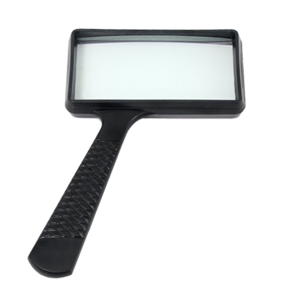 3X Magnification - Scratch-Resistant Glass Lens Ultra-Large Rectangular Hand-held Magnifier Large Horizontal Viewing Angle