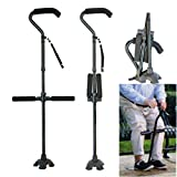 Folding Cane Aluminum Alloy Walking Stick Adjustable Height Three Armrests Non-Slip Telescopic Crutch Mobility Aid Comfortable Handles-813