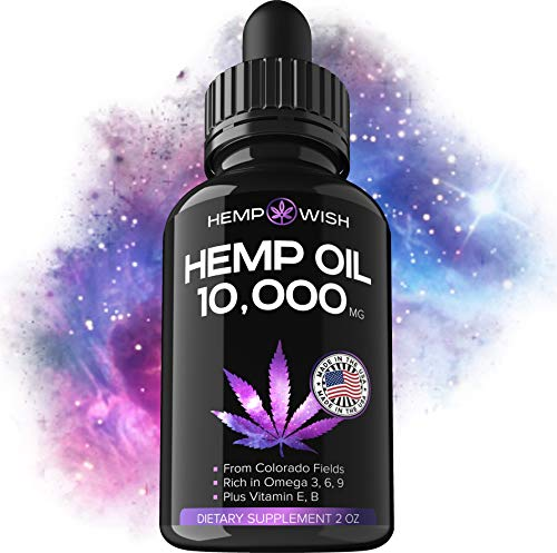 Hemp Oil Extract 10000 MG - Made in USA - 100% Natural Hemp for Stress & Anxiety Relief - Better Sleep, Mood & Immunity - Anti-Inflammatory & Joint Support - Premium Omega 3, 6, 9