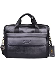 VIDENG Hotest Mens Top Genuine Leather Handmade Briefcase Shoulder Messenger Business Bag (CP-Onyx Black)