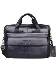 VIDENG Hotest Mens Top Genuine Leather Handmade Briefcase Shoulder Messenger Business Bag (CP-Onyx Black)