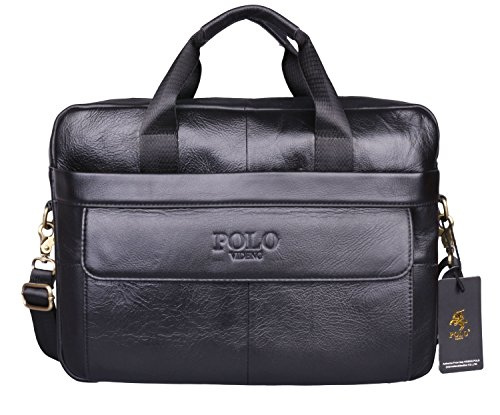 VIDENG POLO® Hotest Men's Top Genuine Leather Handmade Briefcase Shoulder Messenger Business Bag From Italy Design (CP-Onyx (Leather Man Bag)
