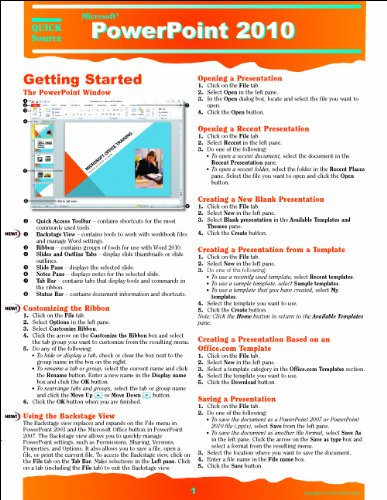 PowerPoint 2010 Quick Source Reference Guide