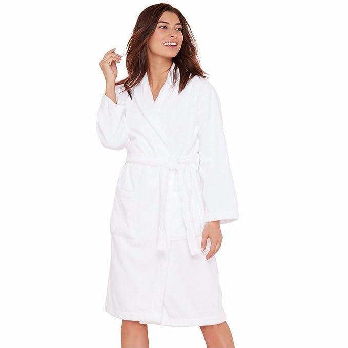 41f8221e8b Amazon.com  JuneBloom Women s Men s Terry Cloth Robe 100% Cotton Bathrobe  with Pockets White XL  Clothing