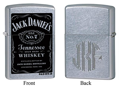 Personalized Zippo Jack Daniel's Old No. 7 Label Lighter with Free Monogram ()