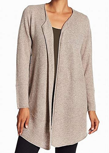 (Magaschoni Collarless Large Cardigan Cashmere Sweater Beige L)