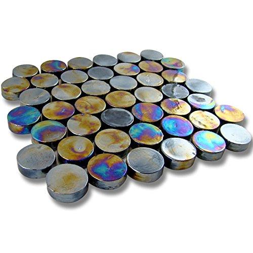 """outlet SAMPLE- 3/4"""" Round Blue Cocoon Glass Tile Vista Pool Kitchen Backsplash Wall"""