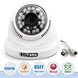 EWETON 1/4″ CMOS 1200TVL CCTV Home Surveillance 24 LED 3.6mm Lens Wide Angle Indoor Dome Security Camera with IR Cut-65ft Night Vision Distance,Plastic Case White