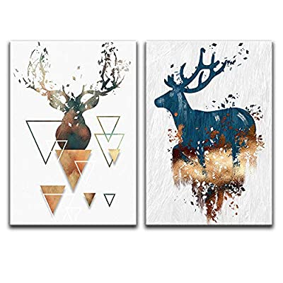 Abstract Deer And Shapes - 2 Panel Canvas Art