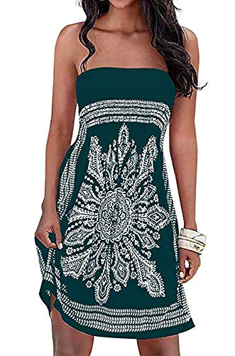Womens Coverup Beach Dress Strapless Summer Bohemian A line Casual Fashion Sundresses (Deep Green,XL) ()