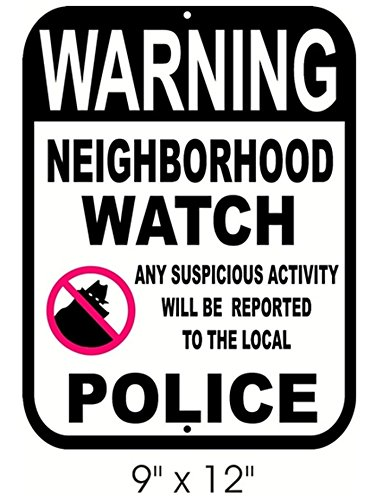 1-Pc Impassioned Unique Warning Neighborhood Watch Any Suspicious Activity Will Be Reported to The Local Police Aluminum Sign CCTV Hour Video Reflective Protected Hr Surveillance Decals Size - Shades Pitbull