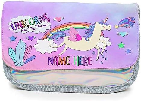 Estuche personalizado con diseño de unicornio en mis cosas para niñas, holográfico, bolsa de papelería de vuelta a la escuela, regalo – plata brillante KS149: Amazon.es: Oficina y papelería
