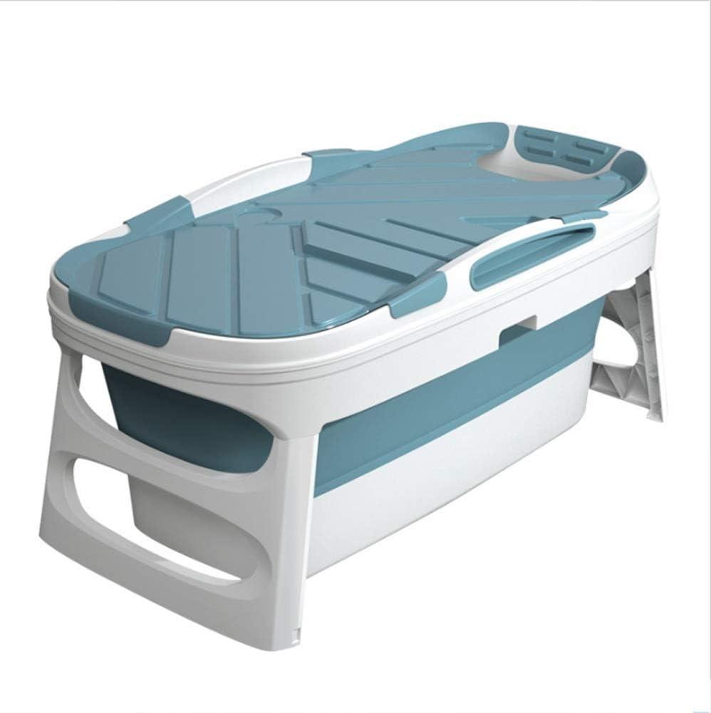 yunyu Bañera Bañeras Bañera Plegable para Adultos, Bañera de hidromasaje portátil para baño, Bañera de inmersión para niños y Adultos, Cabina de Ducha Bañera Material de TPE para la Salud, Azul