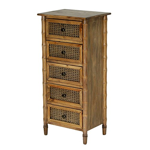 Heather Ann Creations Wallace Collection Living Room Bamboo Style 5 Drawer Tall Free Standing Chest, Rustic Farmhouse, Standard - Bamboo Chest Drawers