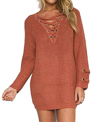 Summer Mae Women's Lace Up Front V Neck Long Sleeve Knit Sweater Dress Top