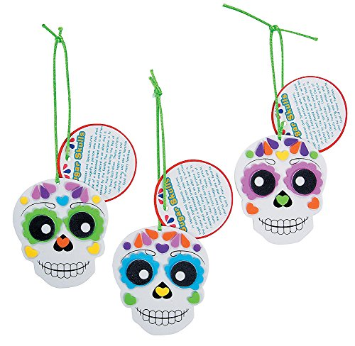 Foam Day of the Dead Sugar Skull Ornament Craft Kit-Makes 12 -
